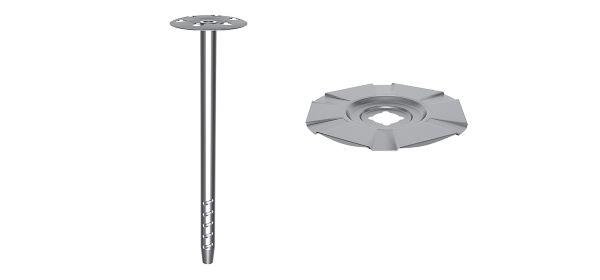 Анкерный элемент TERMOCLIP СТЕНА-4 в комплекте со стальным тарельчатым держателем (ПК-Термоснаб) или комплект: металлический анкер IDMS и тарельчатый держатель IDMS-T (Hilti)