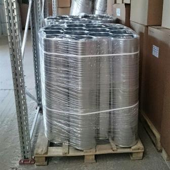 Фото упаковка оцинокванных окожушек для теплоизоляции труб Хотпайп O-ME