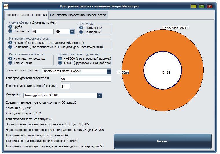 Программа расчета толщины изоляции по нормам СП 61.13330.2012